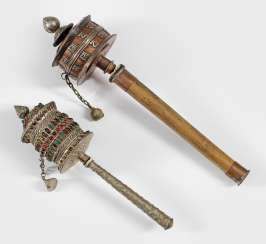 Two Tibetan Hand prayer wheels