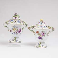 Pair of Potpourri vases with flowers