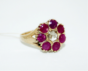 Ring with rubies and diamond