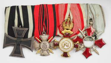 Württemberg: medalbar of a long-serving non-commissioned officer with 4 decorations.