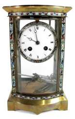 MANTEL CLOCK WITH CLOISONNE INLAY