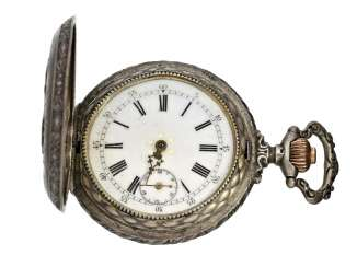 Pocket watch: decorative and rare silver savonnette with relief housing 'St. George' patron Saint, as well as ship in a stormy sea