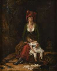 Genre scene with mother and child