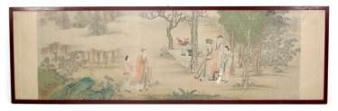 Anonymous cross-role representation of a taught scene in the garden, colors on silk