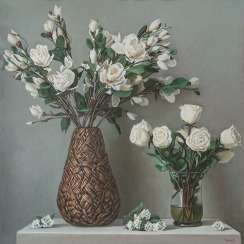 Still life with white magnolias.