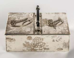 LARGE CIGARETTE AND CIGAR BOX WITH MONOGRAM AND DATE 1 NOVEMBER 1893