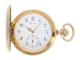 Pocket watch: extremely heavy Swiss Pocket chronometer with rockers-chronometer escapement, No. 6704, CA. 1900
