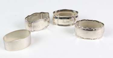 4 napkin rings - silver 800/835, among other things,