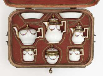 Travel service, eight parts, Meissen, Marcolini, painting attributed to Johanna Friedericka Bachmann