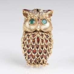 Miniature-Gold-box 'owl' with precious stones and enamel decor