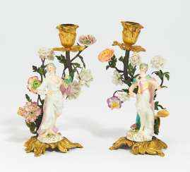 Pair of small hand candlestick with Musenzier
