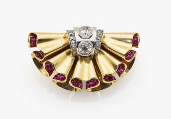 Historical brooch clip with diamonds and rubies, France, Paris 1935, RENE BOIVIN ANNEES