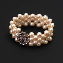 Wide bracelet with cultured pearls and CID