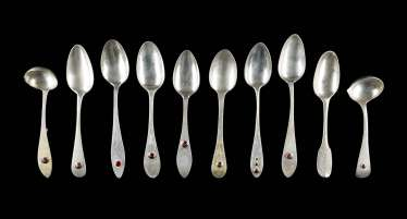 COLLECTION OF EIGHT SPOONS AND TWO LADLES