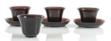 Four cups and three saucers violet transparent Peking glass
