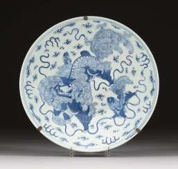 LARGE WALL PLATE WITH FO LIONS Japan