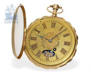 Pocket watch: great Spindeluhr with Repetition and hidden erotic figure of machine, probably Geneva CA. 1820