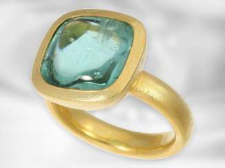 Ring: mint, formerly very expensive gold wrought ring with a large tourmaline 13.3 ct, first-class and exclusive hand work from the jewelry Studio Hergert in Bremen