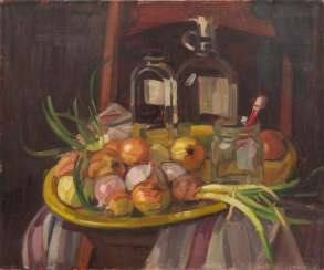 "KORNSAND, LUISE (1876-1962), ""Still life with painting utensils, glass bottles and onions"","