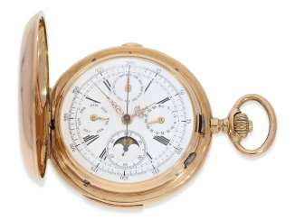 Pocket watch: very large and heavy, astronomical gold savonnette with 6 complications, including minute repeater, Maurice Ditisheim, La Chaux-de-Fonds, No. 12454, CA. 1890