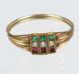 Tricolore ring yellow gold 333