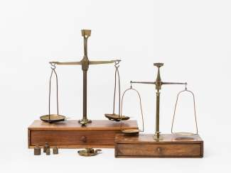 Two French beam scales in wooden boxes,