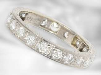 Ring: very beautiful and high quality vintage eternity ring, about 1.5ct fine diamonds