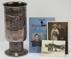 Honour Cup for special benefits during the air war, the military Board to protect and bearer of the German cross in Gold Sergeant Karl Ismayr, 6./ KG 1