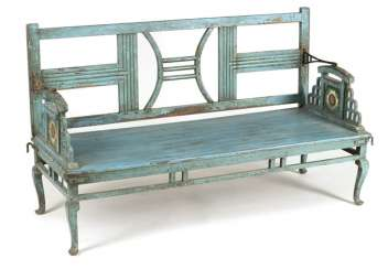 Garden Bench, Wood, Painted Blue