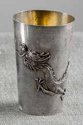 Silver Cup with dragon decoration than a shooting price with inscription