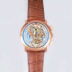 Semi-skeletonized men's wristwatch 'Jumbo Chrono' in rose gold
