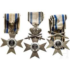 Three Military Merit Crosses 2. Class a certificate