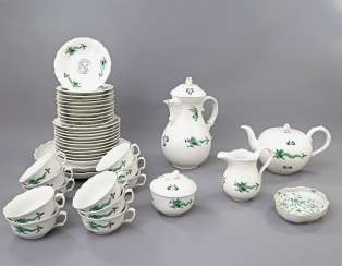MEISSEN coffee tea service for 11 people, 'Green Ming dragon', 20. Century, 2 Grinding Lines.