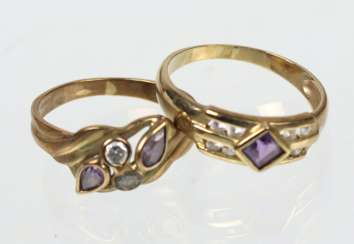 2 ladies rings - yellow gold 333