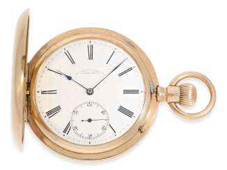 Pocket watch: very beautiful, great rose gold Savonnette of the company A. Lange & Söhne Glashütte, No. 57147, Glashütte 1906, master excerpt from the book