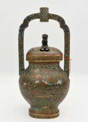 Incense burners, Cloisonne/enamel floral decoration, marked, China, early 19th century. Century