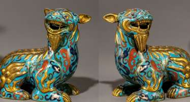 Pair of Cloisonné-fabulous animals with partial fire gilding
