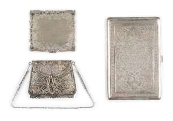 SMALL FILIGREE CASE IN HANDBAG SHAPE AND TWO FLAT CASES