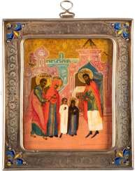 A SMALL ICON WITH THE TEMPLE OF DEMISE OF THE MOTHER OF GOD WITH ENAMELLED BASMA
