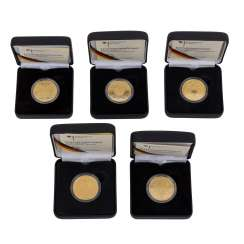 BRD/GOLD - 5 x 100 Euro gold coins, consisting of