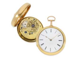 Pocket watch: early, heavy English 18K gold double case-Spindeluhr, Charles Smith, London , Hallmarks 1793