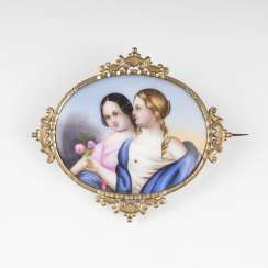 Biedermeier porcelain brooch with miniature painting