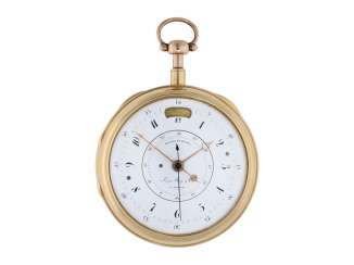 Pocket watch: important, early Geneva precision pocket watch/Watch with jumping Central second, quarter-hour repeater, calendar and Equation of time