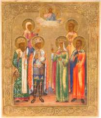 ICON WITH SIX FAMILY SAINTS, INCLUDING ST. ALEXANDER NEVSKY AND HELENA