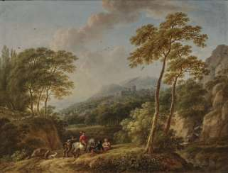 Caspar (Johann Caspar) Schneider, attributed to - Wooded rocky landscape with resting peasants - River landscape with fishermen and pulling peasant couple