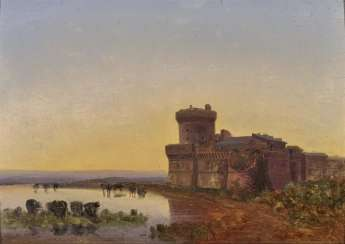 Fort in the Pontine Marshes at sunset