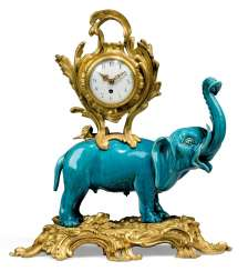 A LOUIS XV-STYLE ORMOLU-MOUNTED TURQUOISE-GROUND PORCELAIN MANTEL CLOCK