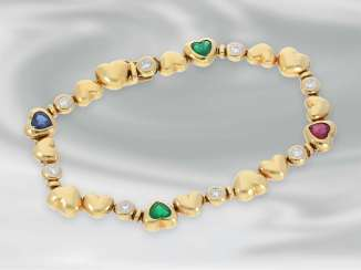 Bracelet: high quality modern gold bracelet with emerald-, ruby-, sapphire - and diamond trimming, approx. 2,54 ct, 18K Gold