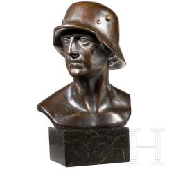 Fritz Paul Zimmer (1895 - 1975) - bronze of a soldier with a steel helmet