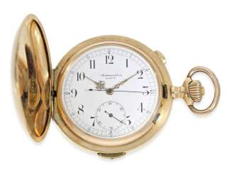 Pocket watch: fine, extra-large gold savonnette repeater with Chronograph, Audemars Freres No. 290634, CA. 1900